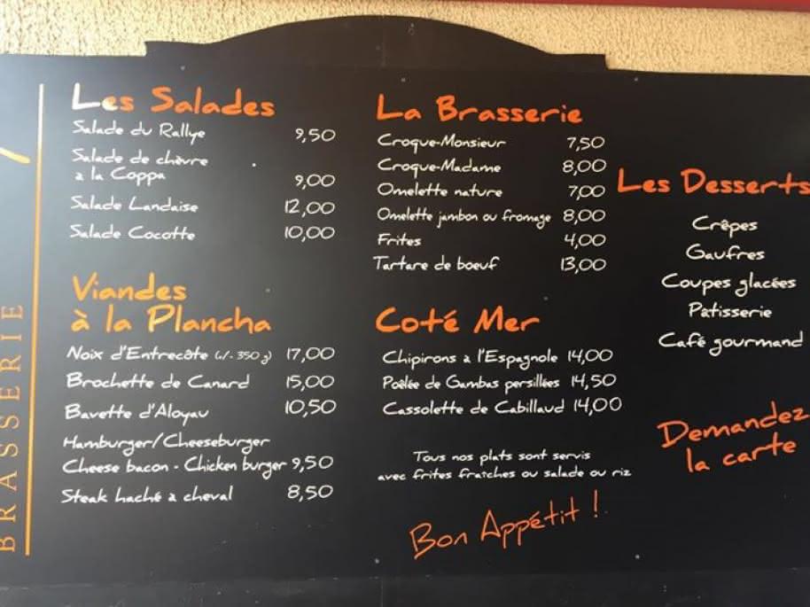 Restaurant Le Rallye Soulac - Menu